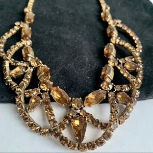 J.Crew Gold Amber Crystal Statement Necklace